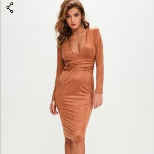 Missguided brown faux suede plunge dress